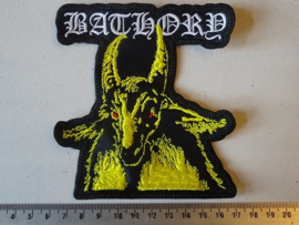 BATHORY - YELLOW GOAT + WHITE NAME LOGO ( SHAPED )
