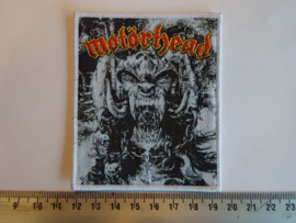 MOTORHEAD - GOD WAS NEVER ON YOUR SIDE ( WHITE BORDER ) WOVEN