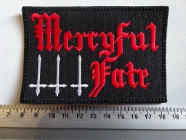 MERCYFUL FATE - RED NAME LOGO + WHITE CROSS