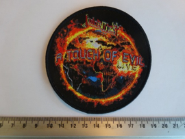 JUDAS PRIEST - A TOUCH OF EVIL ( BLACK BORDER ) WOVEN
