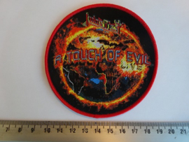 JUDAS PRIEST - A TOUCH OF EVIL ( RED BORDER ) WOVEN