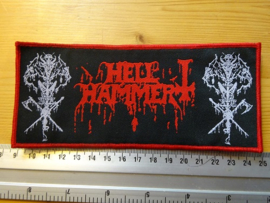 HELLHAMMER - SATANIC RITES ( RED BORDER ) WOVEN STRIPE