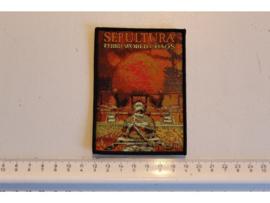 SEPULTURA - THIRD WORLD CHAOS ( BLACK BORDER ) WOVEN