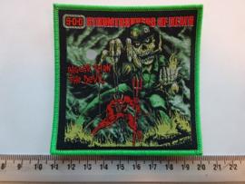 S.O.D. - BIGGER THAN THE DEVIL ( GREEN BORDER ) WOVEN