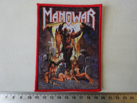MANOWAR - HELL ON EARTH ( WOVEN, RED BORDER ) HANDNUMBERED