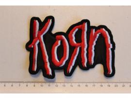 KORN - RED/WHITE NAME LOGO ( SHAPED )