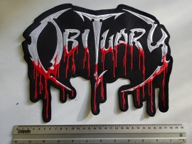 OBITUARY - RED/WHITE BLOODY LOGO