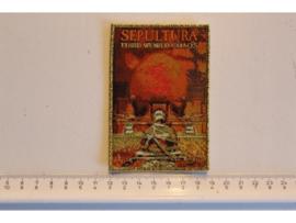 SEPULTURA - THIRD WORLD CHAOS ( GOLD GLITTER  BORDER ) WOVEN
