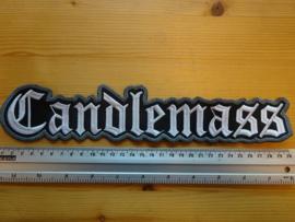 CANDLEMASS - WHITE NAME LOGO ( GREY BORDER )