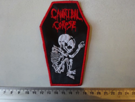 CANNIBAL CORPSE - RED LOGO + FOETUS ( COFFIN SHAPED, RED BORDER )