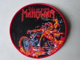 MANOWAR - HELL ON EARTH CIRCLED RED (WOVEN) NUMBERED