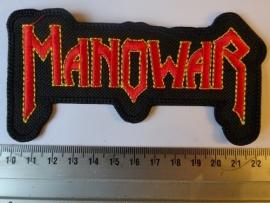 MANOWAR - RED/YELLO LOGO ( SHAPED )