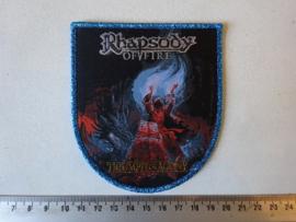 RHAPSODY OF FIRE - TRIUMPH OF AGONY ( BLUE GLITTER BORDER ) WOVEN