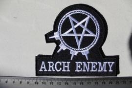 ARCH ENEMY - WHITE NAME LOGO + PENTAGRAM