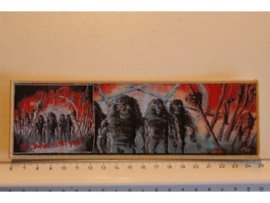 SLAYER - AT DAWN THEY DIE ( VERY LIGHT YELLOW BORDER ) WOVEN STRIPE