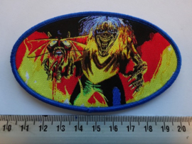 IRON MAIDEN - NUMBER OF THE BEAST ( BLUE BORDER ) OVAL WOVEN