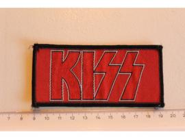 KISS - NAME LOGO ( BLACK BORDER ) WOVEN