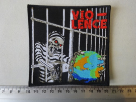 VIO-LENCE - NO CHAINS TO THE WORLD ( WOVEN, BLACK BORDER ) NUMBERED