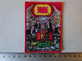NAPALM DEATH - SCUM ( RED BORDER ) WOVEN