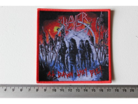 SLAYER - AT DAWN THEY DIE ( RED BORDER ) WOVEN