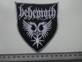 BEHEMOTH - NAME + LOGO ON SHIELD ( WHITE BORDER )