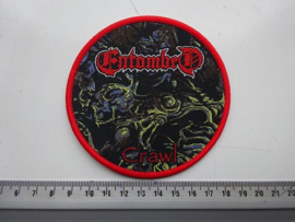ENTOMBED - CRAWL (  RED NAME, RED BORDER ) WOVEN