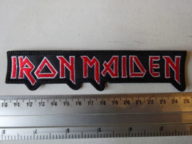 IRON MAIDEN - RED/WHITE NAME LOGO ( SHAPED ) BIG !!