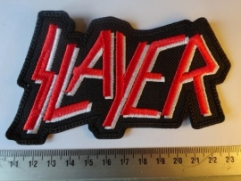 SLAYER - WHITE/RED LOGO ( SHAPED )