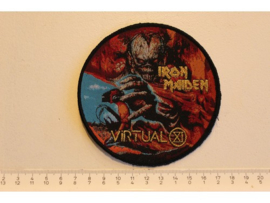 IRON MAIDEN - VIRTUAL XI ( BLACK BORDER ) GOLD WOVEN