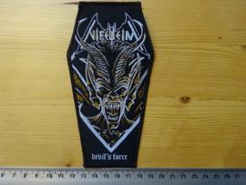 NIFELHEIM - DEVIL'S FORCE ( COFFIN SHAPED BLACK BORDER ) WOVEN