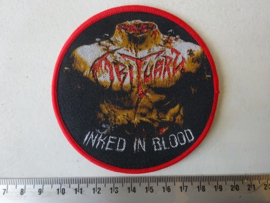 OBITUARY - INKED IN BLOOD ( WOVEN, RED BORDER )