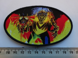 IRON MAIDEN - NUMBER OF THE BEAST ( BLACK BORDER ) OVAL WOVEN