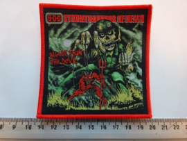 S.O.D. - BIGGER THAN THE DEVIL ( RED BORDER ) WOVEN