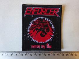 ENFORCER - DEATH BY FIRE ( BLACK BORDER ) WOVEN