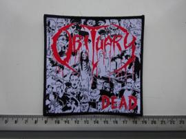 OBITUARY - DEAD ( BLACK BORDER ) WOVEN