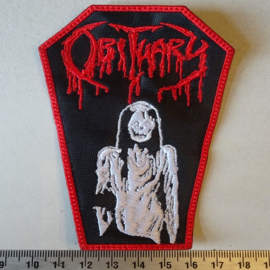 OBITUARY - RED LOGO COFFIN SHAPED