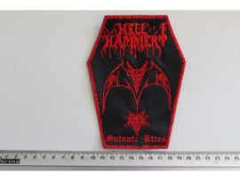 HELLHAMMER - SATANIC RITES ( RED LOGO COFFIN SHAPED )
