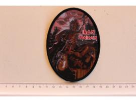 IRON MAIDEN - KILLERS ( BLACK BORDER ) WOVEN, OVAL.