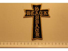 BLACK SABBATH - BLACK/YELLOW CROSS + NAME