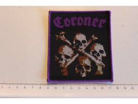 CORONER - DEATH CULT ( PURPLE BORDER ) WOVEN