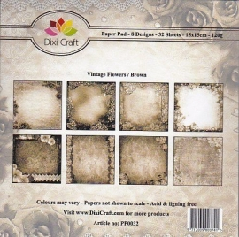 Dixi Craft - Paper Pack Vintage Flowers Brown PP0032