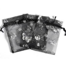 Organza zakjes 7x9cm zwart met vlinder 10 stuks