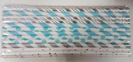 Rietjes 25 stuks lichtblauw, zilver