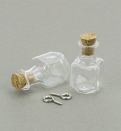 12423-2312 - Mini Glass Bottles, with cork & screw hanger