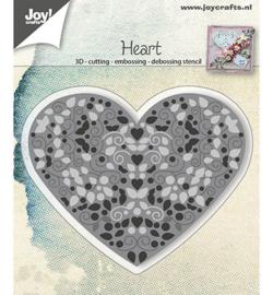 6002/0786 Hart gevuld met swirls en blaadjes