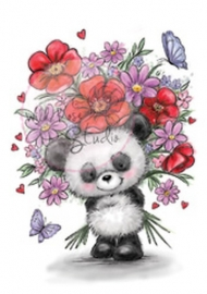 Wild Rose Studio Clearstamp CL452 Panda with Flowers