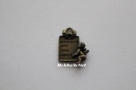 Geboorte tegel brons 20x15 mm