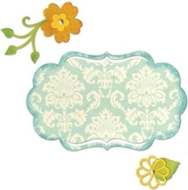 Sizzix 658956 Thinlist Die - Fancy Label & Flowers