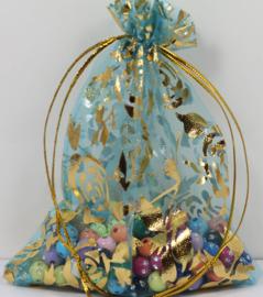 Organza zakjes blauw met bloem 7x9cm - 10 stuks