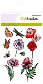 CraftEmotions 130501/1233 clearstamps A6 - klaprozen, vlinders Poppy fields